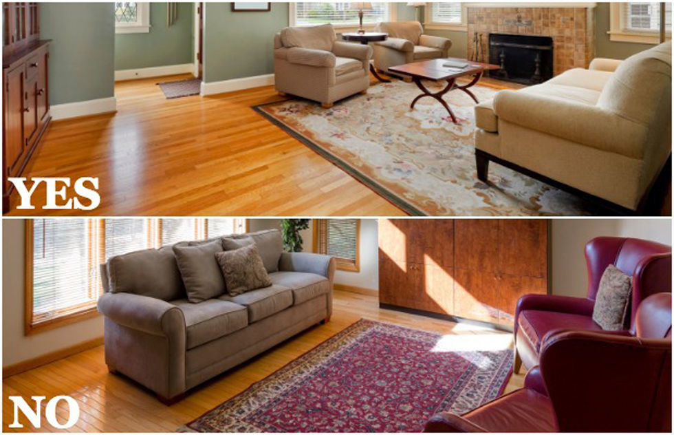 How to place area rug in living room roselawnlutheran for Living room rug placement