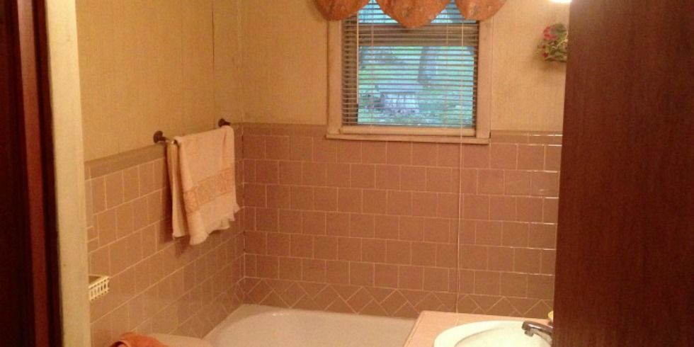 Before and after pink bathroom home decorating ideas for Good housekeeping bathroom designs