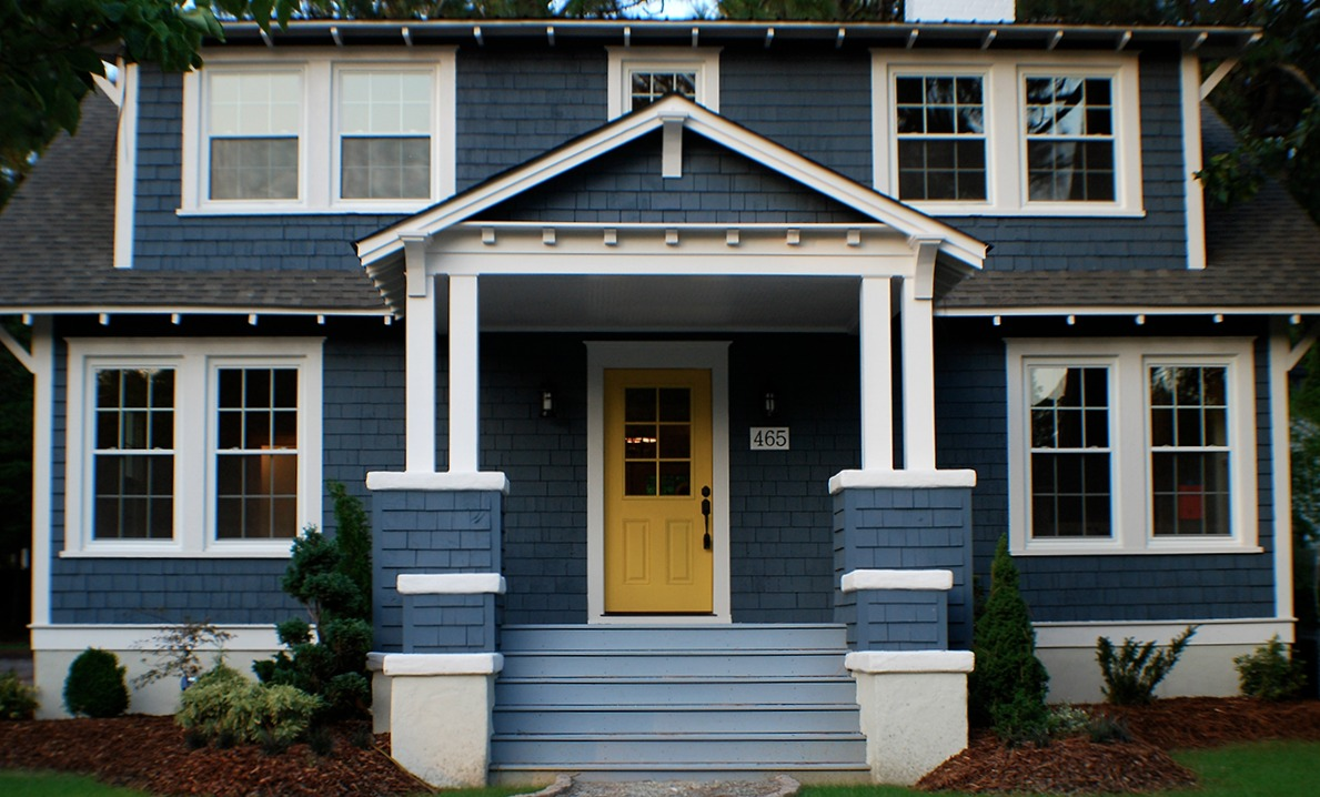 Blue Home Exterior Makeover