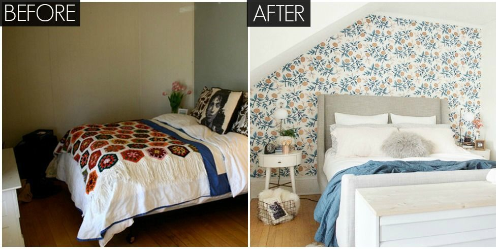 Small floral bedroom makeover bright bedroom before and Tiny room makeover