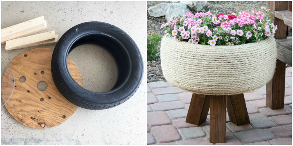 Tire planter upcycle repurposed tire diy for Using tyres as planters
