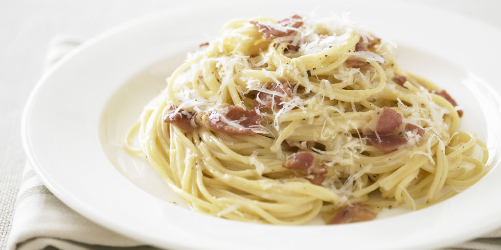 Ultimate Spaghetti Carbonara Recipe Beaten Eggs And Plenty Of Romano Cheese Form A Lightly Creamy Sauce In This Bacon Studded Italian Pasta Dish