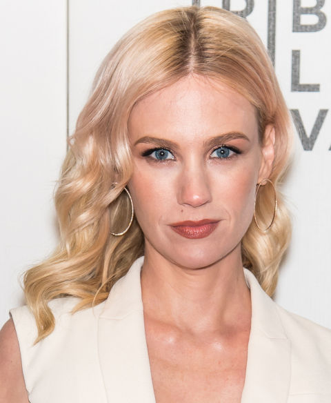 January Jones' pinkish blonde hair color is great for women with already-light hair who want to try something subtly bold.
