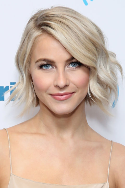 Julianne Hough's modern waves pop even more with cool highlights and a pretty ash base color. Pair a shimmery shade like this with darker brown brows for a high-impact look.