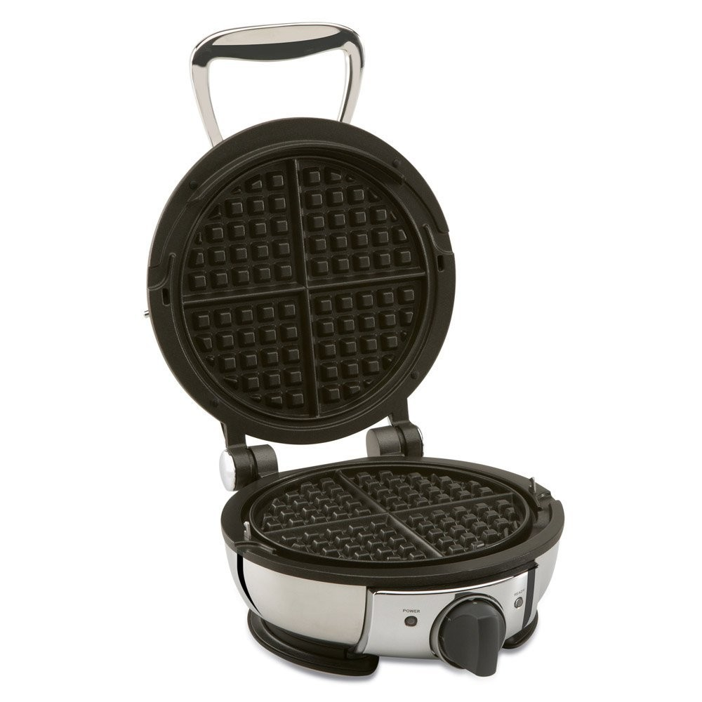 This Cuisinart Belgian Waffle Maker makes large waffles, a little more than 1 cup batter. I use a heavier multigrain recipe with no eggs; although waffles are delicious, they come out a little unevenly cooked around the outside.
