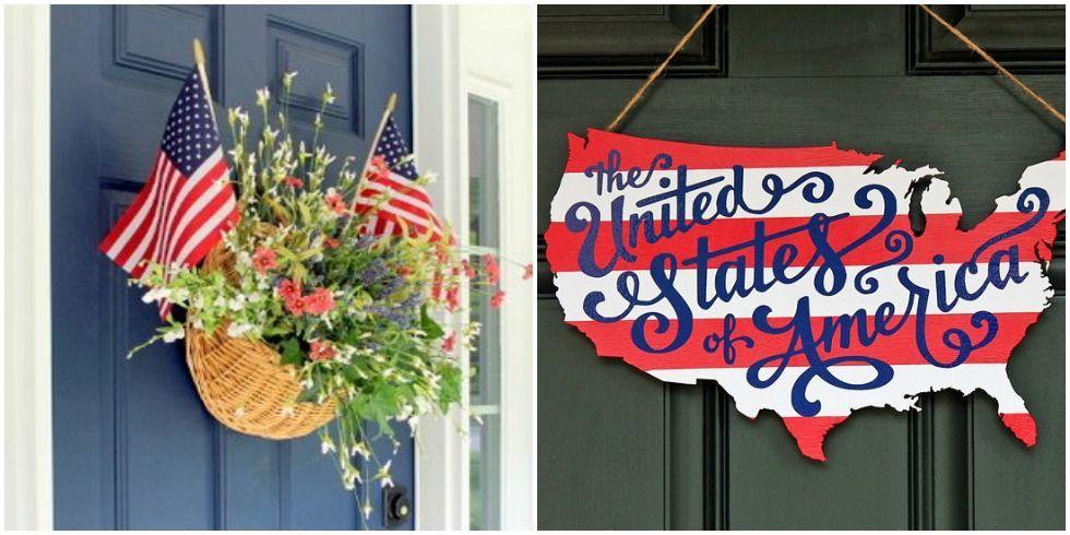 patriotic wreaths for front doorDIY American Door Decor  Patriotic Door Decorations