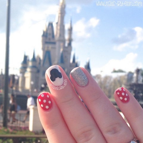 What's the best way to show off your Minnie nails? Right in front of the Magic Kingdom castle, of course!