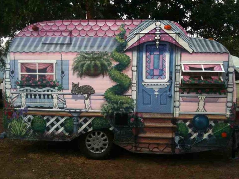 Quirky Victorian Camper Tiny House Mural