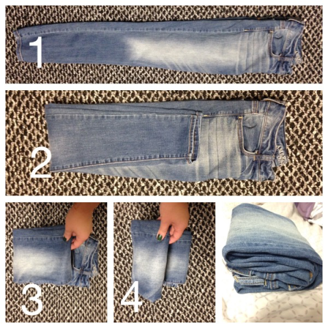 It might feel like overkill, but this super condensed way of folding jeans allows you to store 'em horizontally and pack more pants into each drawer. Get the tutorial at What Wit ?