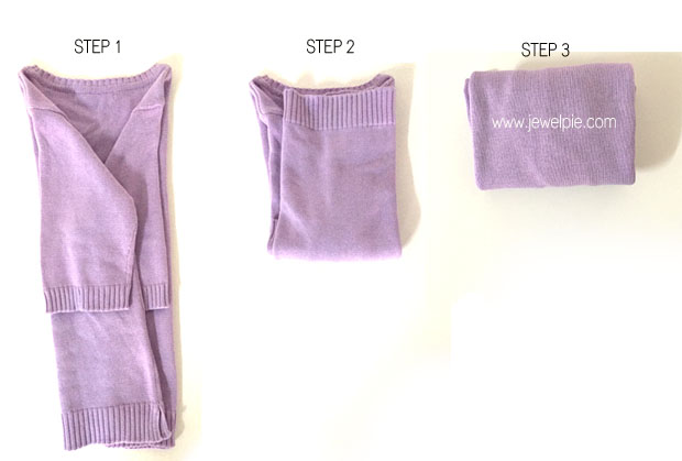 This is how shirts are folded in department stores ? but with one extra fold in half (see step 3) to maximize space for home storage. Use this method to prevent wrinkles and keep the material from getting stretched out. Get the tutorial at Jewel Pie ?
