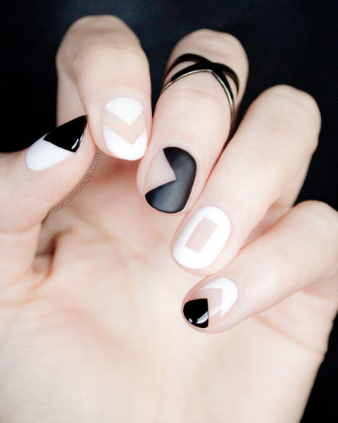 Monochromatic Negative Space - 15 White Nail Art Designs - White Manicure Tutorials