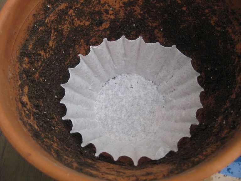 4 place one in the bottom of a flower pot - Coffee Filter Uses