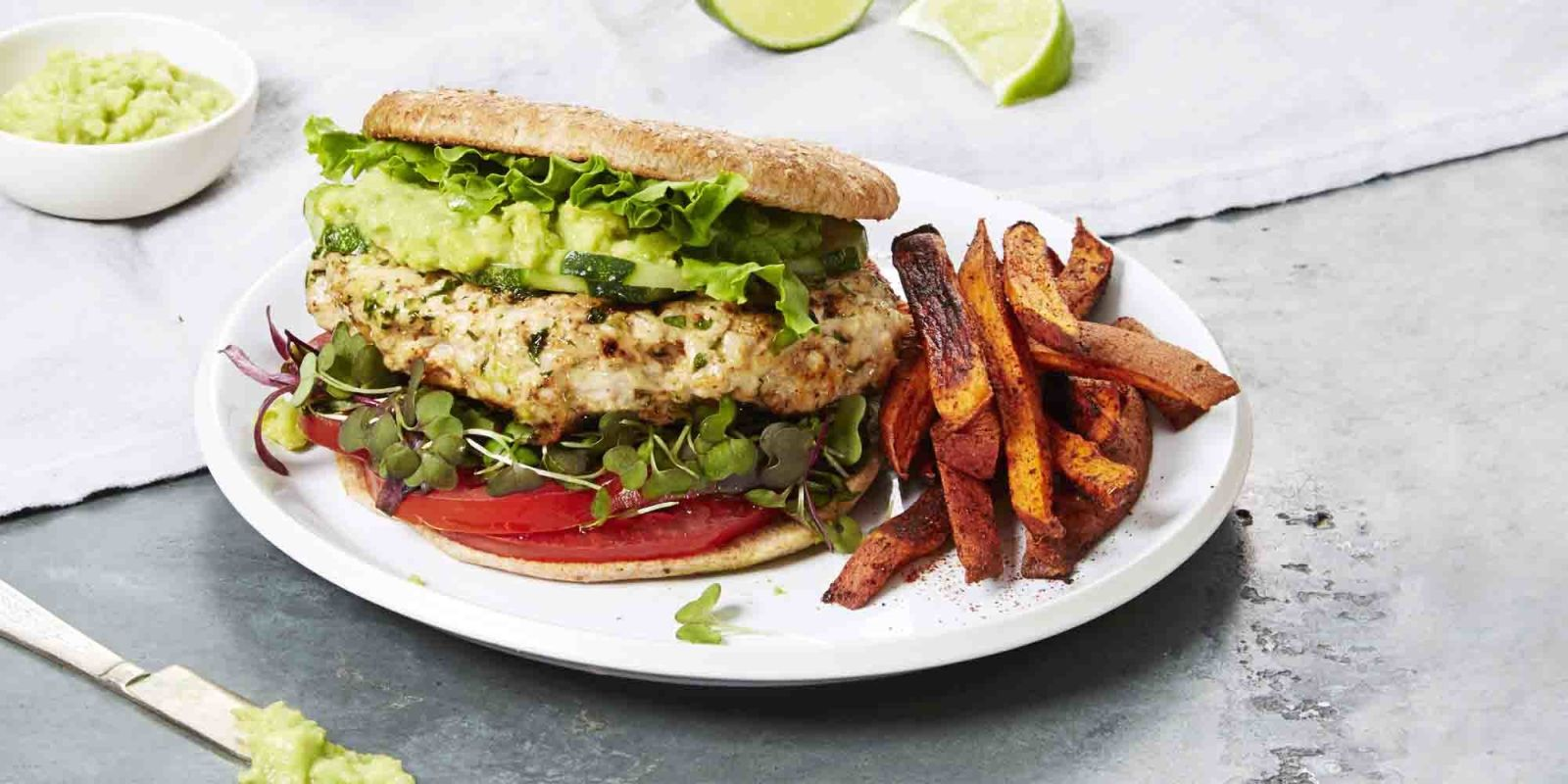 Turkey burger with sweet potato fries for What to serve with thanksgiving turkey