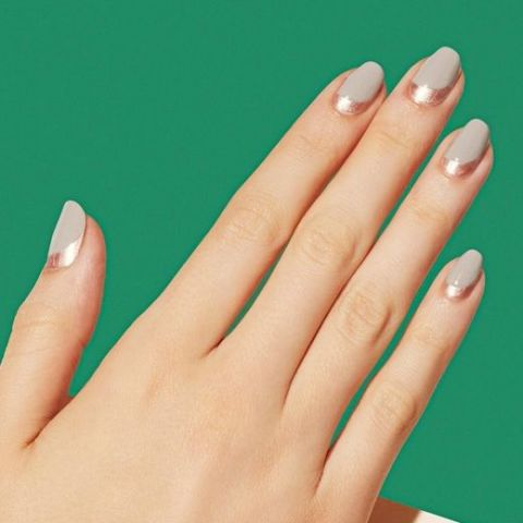 change up a traditional french tipby creating a reverse design neutral colors keeps - Ideas For Nail Designs