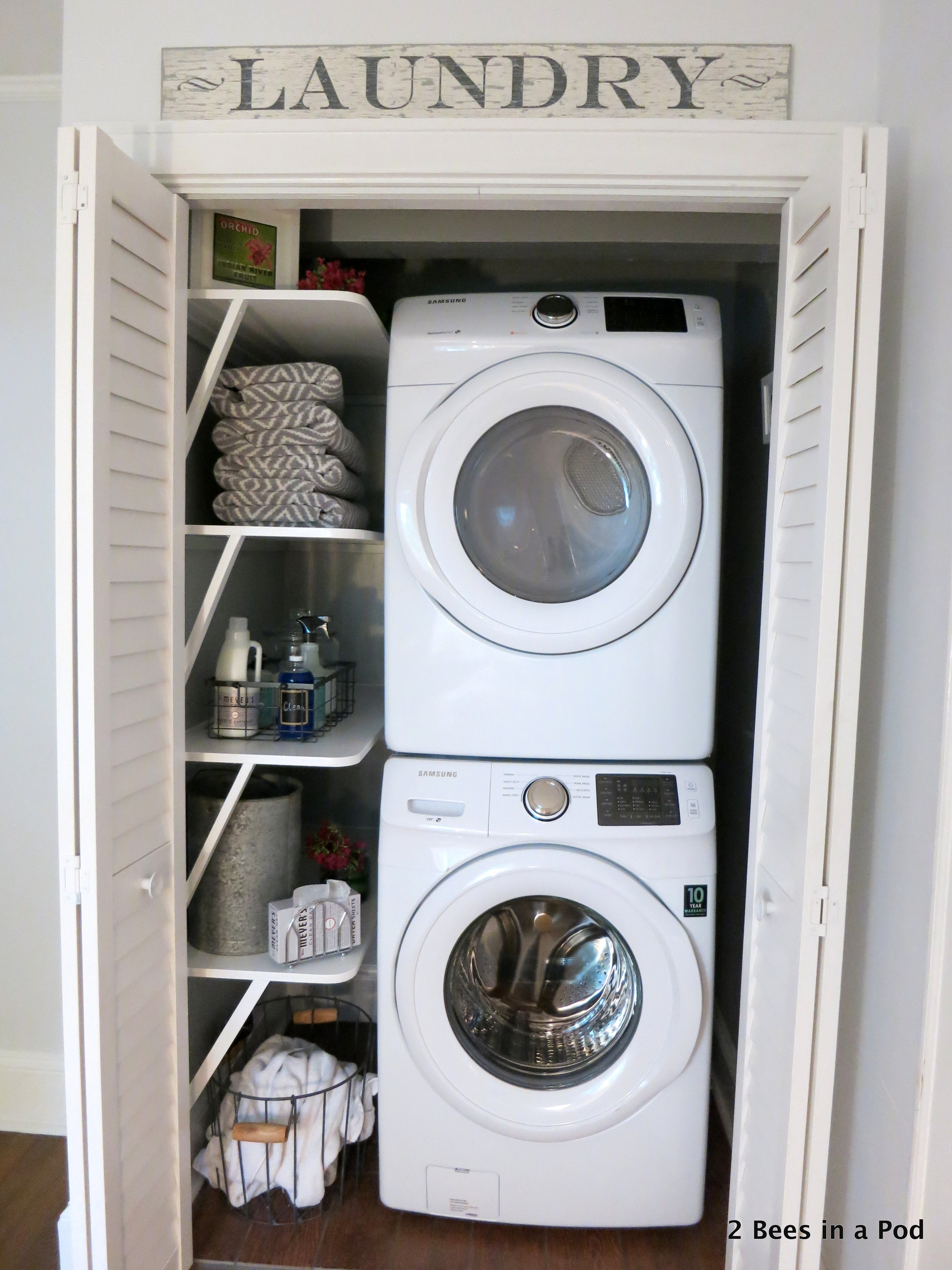 small laundry room organizing - laundry room storage