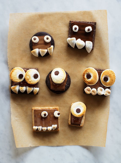 Okay, so these treats are more goofy than frightful — but your kids will have tons of fun creating their own faces.Get the recipe at Say Yes »