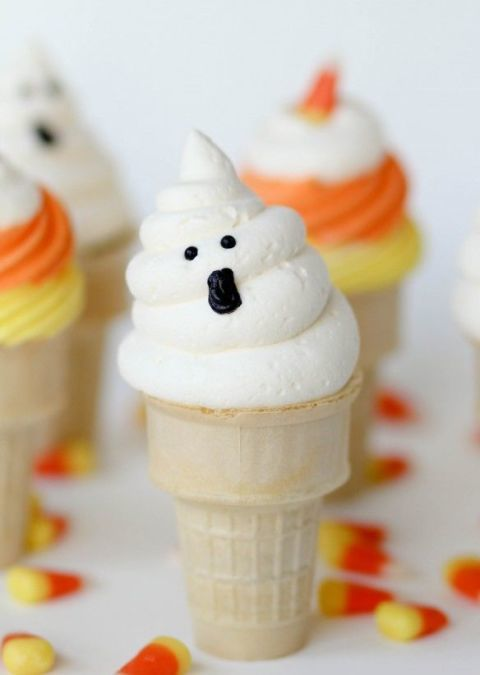 Or you could bake your ghost cupcakes inside an ice cream cone because why not?Get the recipe from Confessions of a Cookbook Queen »