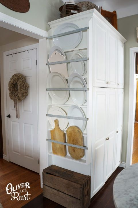 Few of us have a drawer big enough for those pretty platters we only take out during the holidays. A wall rack is a great way to utilize bare space in your kitchen or dining room – and the serveware is so pretty that your collection can double as decor.<br /> See more at Oliver & Rust »<br />