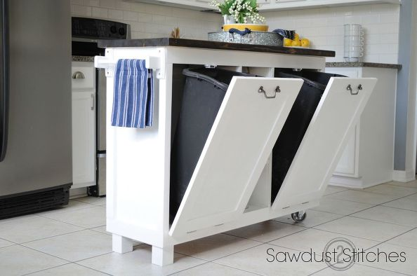 White Kitchen Islands With Trash Bins