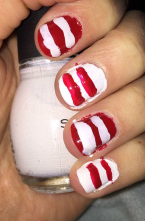 26 epically funny pinterest manicure fails pinterest nail art fails the fail candy cane claws prinsesfo Image collections
