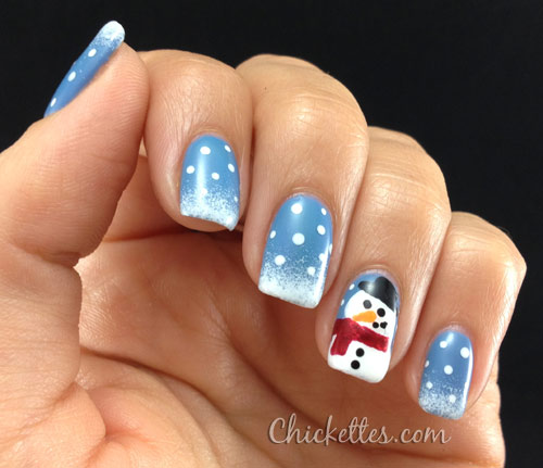 16 winter nail art ideas designs for new years and holiday nails build a snowman prinsesfo Image collections