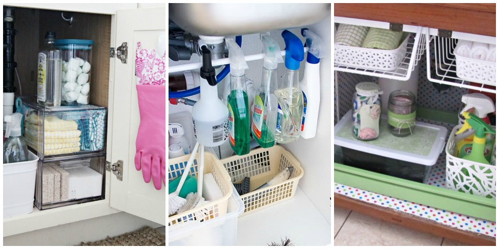 Under the sink organization bathroom and kitchen organizing tips for How to organize bathroom cabinets