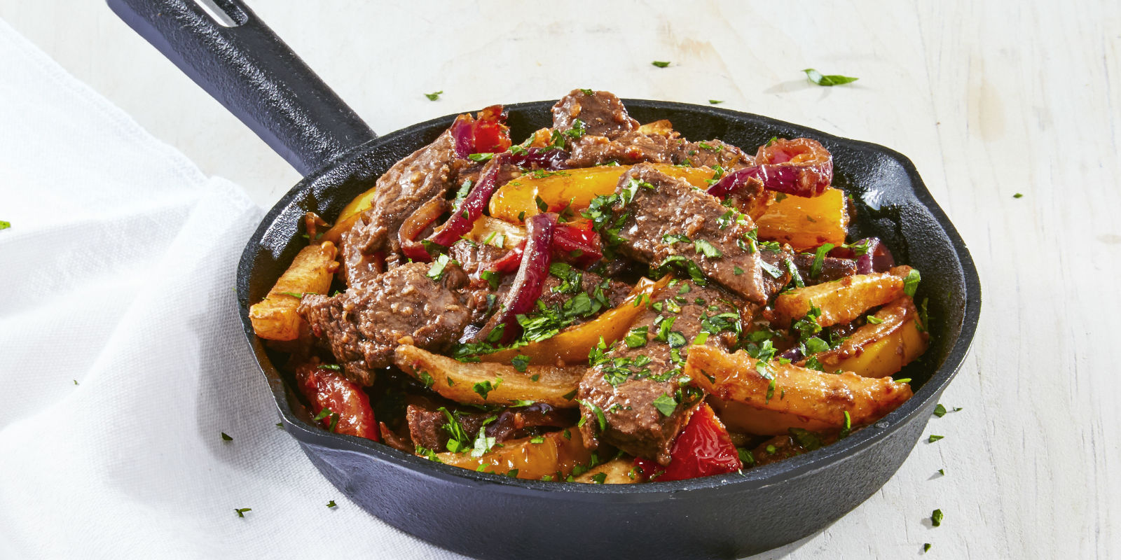 Sauteed Beef And Pepper Skillet With Fries