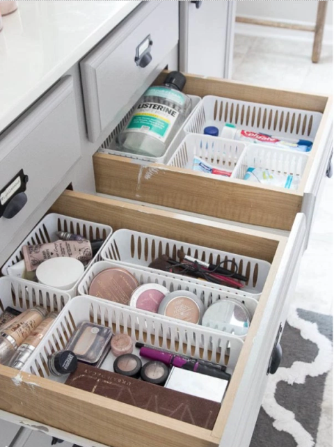 add bins to tidy catch all drawers catch office space organized