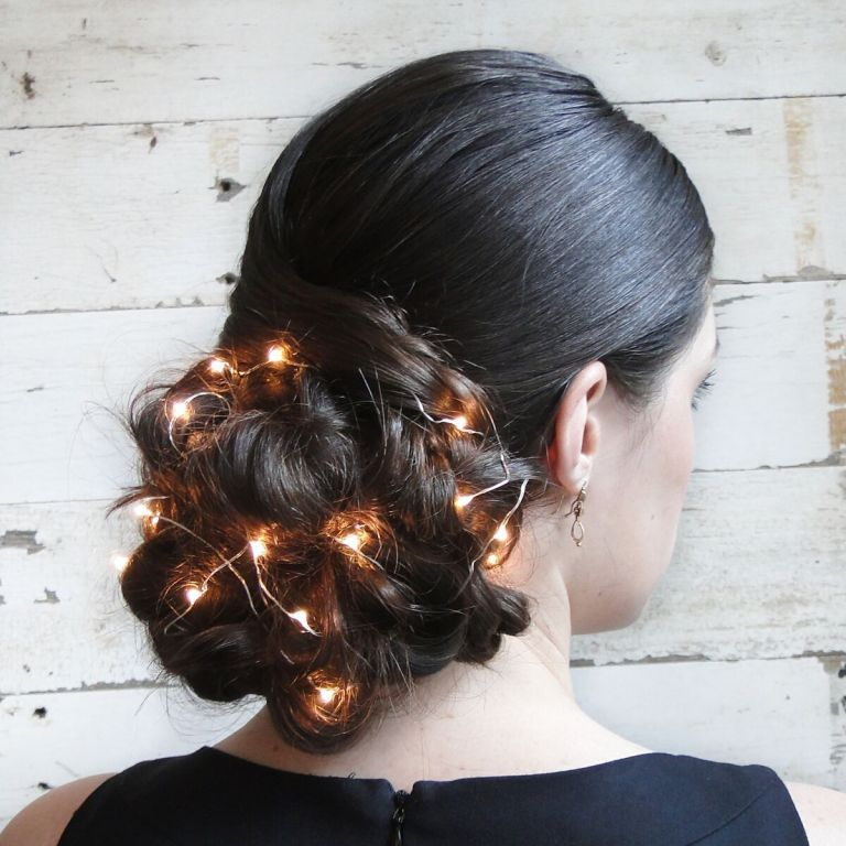 Holiday updo with christmas lights unique holiday hairstyle saloncapri pmusecretfo Images