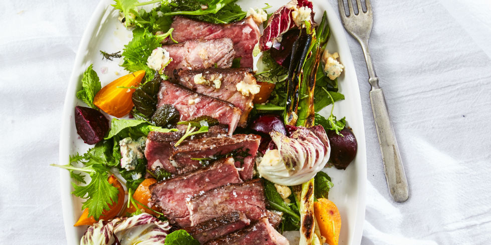 Steak Salad with Charred Green Onions and Beets