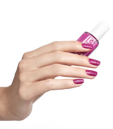 Play with texture on your nails by swirling matte and glossy designs in this cool magenta take on the typical striped manicure. See more at Essie »