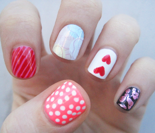 If you can't decide one just one design to do, why not try five different ones? This variety of Valentine's Day nail art is perfect for the most indecisive mani lovers.</p><p>See more at Birchbox »</p><p>