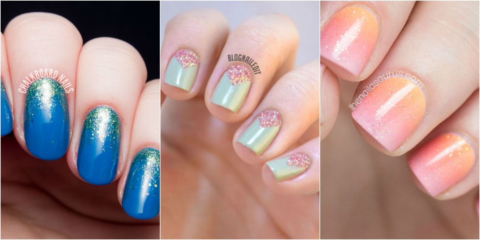 24 glitter nail art ideas tutorials for glitter nail designs prinsesfo Choice Image