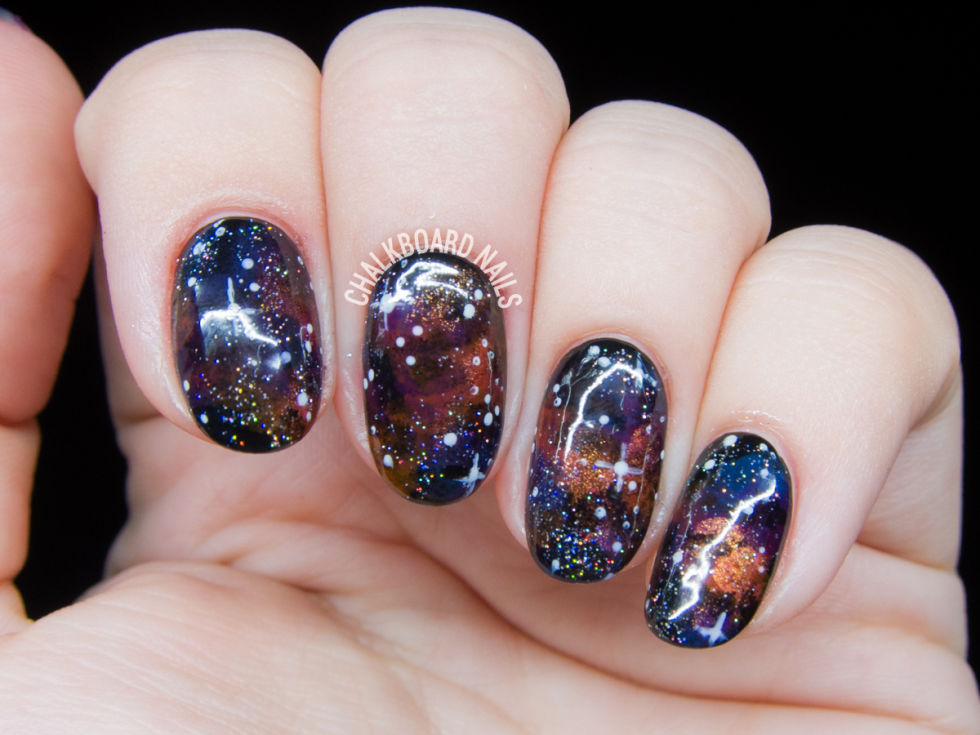 Glitter Galaxy - 24 Glitter Nail Art Ideas - Tutorials For Glitter Nail Designs