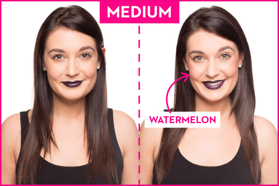 got a medium skin tone blend on a bright watermelon color in a natural looking gel or cream formula you can add an extra bit of product to your lips and - Colors For Olive Skin