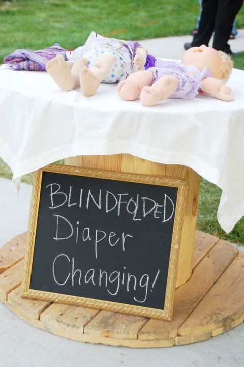 Delightful Blindfolded Diaper Challenge Baby Shower Game