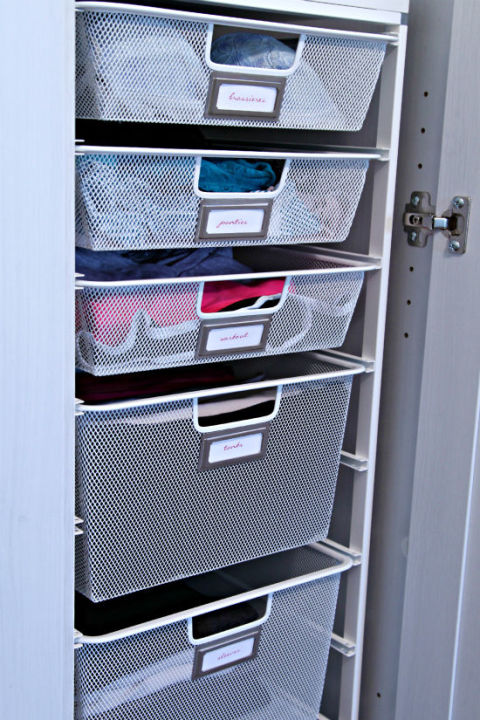 Just because your closet doesn't come with drawers, doesn't mean you can't add any. Our advice? Organize your garments by activity — work, weekends, workouts, you name it. See more at I Heart Organizing »
