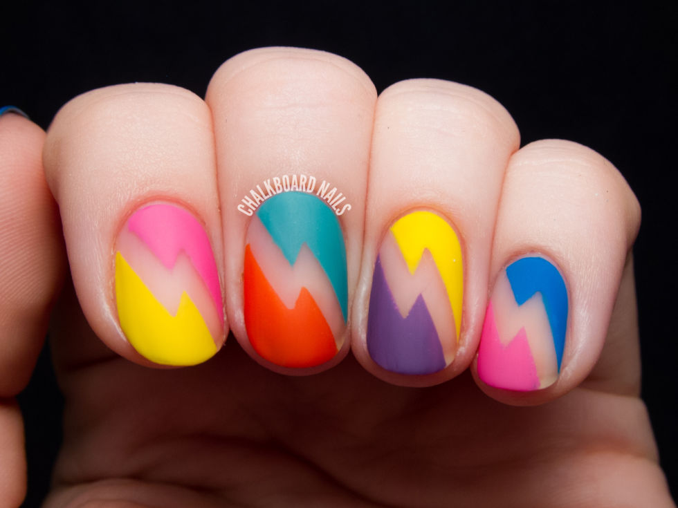 Neon Negative Space - 13 Cool Designs For Matte Nails - Matte Nail Art Ideas