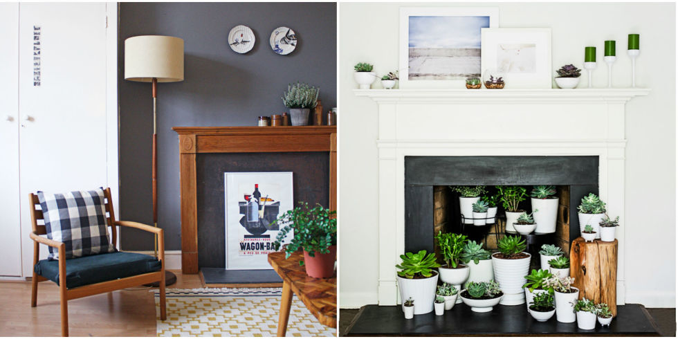 14 Ways to Dress Up Your Fireplace (No Fire Necessary) - Fireplace Decor - Designs For A Faux Fireplace