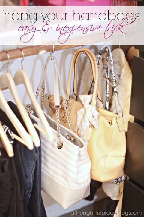 Forget the bathroom, it turns out shower hooks are perfect for hanging purses in your closet. Plus, this will ensure handles don't get misshaped. See more at A Thoughtful Place »