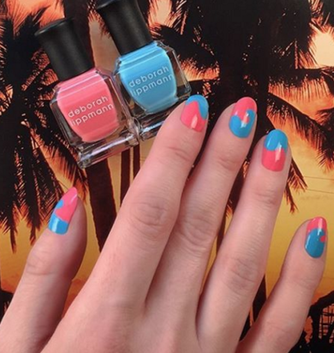 Reminiscent of an ice-cold blue, raspberry, and cherry combo Slurpie, this wavy nail art is so perfect for warm weather.  See more at Deborah Lippmann »
