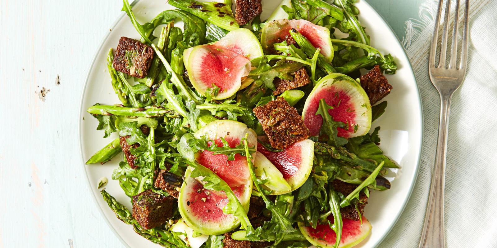 Garden Greens And Pumpernickel Panzanella Recipe   How To Make Panzanella    GoodHousekeeping.com