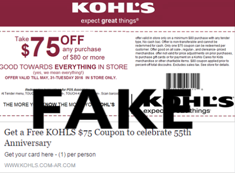 Watch Out for This Fake Kohls Coupon on Social Media