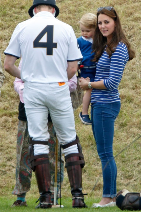 June 14, 2015 &mdash; The Duchess doesn't just wear boat shoes to nautical events&mdash;at this polo match she paired them with skinny jeans and a Breton strip shirt.