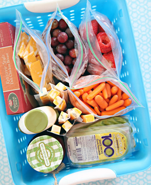 Whip up the kids' sammies in a flash by storing deli meats, cheeses and spreads in a special fridge spot. Add pre-portioned fruits and veggies (divvied up on the weekend or the night before) for a faster grab-and-go station. See more on IHeart Organizing » Storage baskets, $22 for six BUY NOW