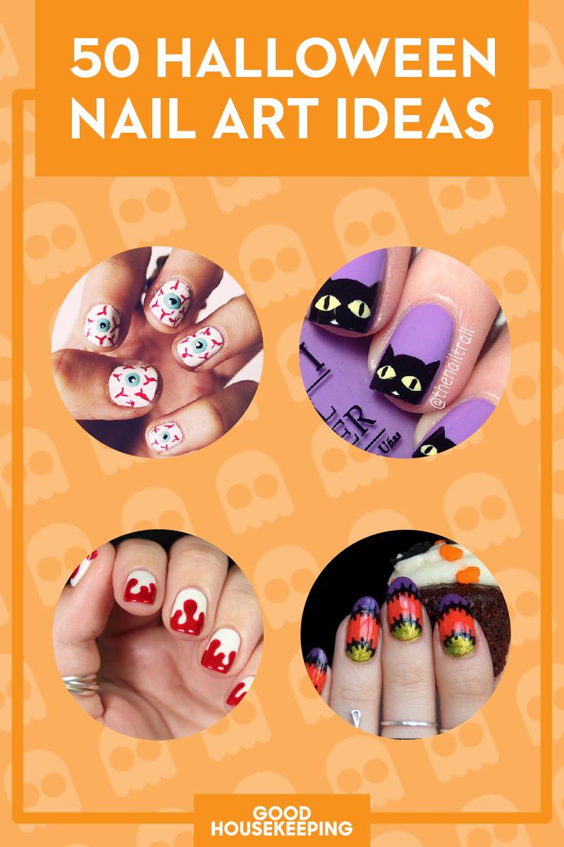 55 halloween nail art ideas easy halloween nail polish designs prinsesfo Images