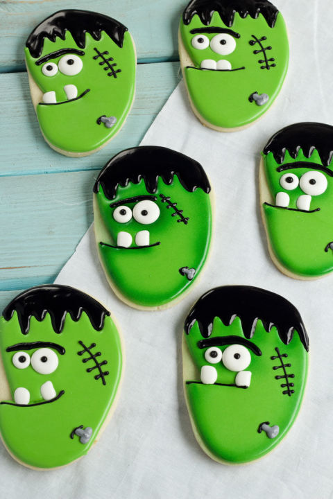 frankenstein face cookies - Halloween Cookies Decorating Ideas