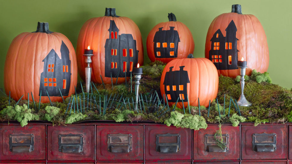 Set up a flickering town square by simply cutting away windows and doors from silhouetted buildings. 