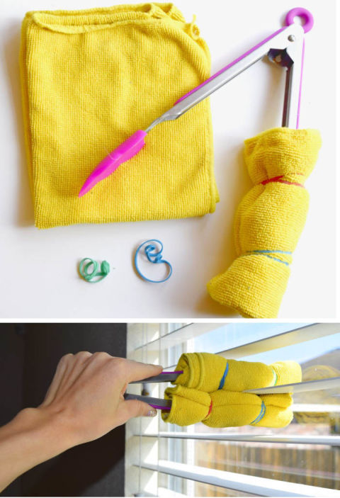 If you don't want to get your hands dusty, there's a kitchen utensil you can use instead: tongs! All you have to do is secure a microfiber cloth using rubber bands, then close the tool on a strand and pull it across. See more at One Crazy House »