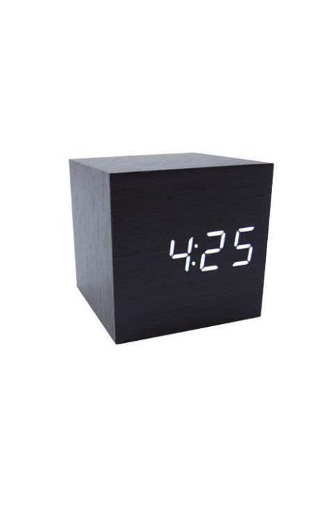 ($9, amazon.com) Minimalists will appreciate this wooden alarm clock. Clap your hands or tap the side to make the display the time appear. It'll peace out when you pass out.